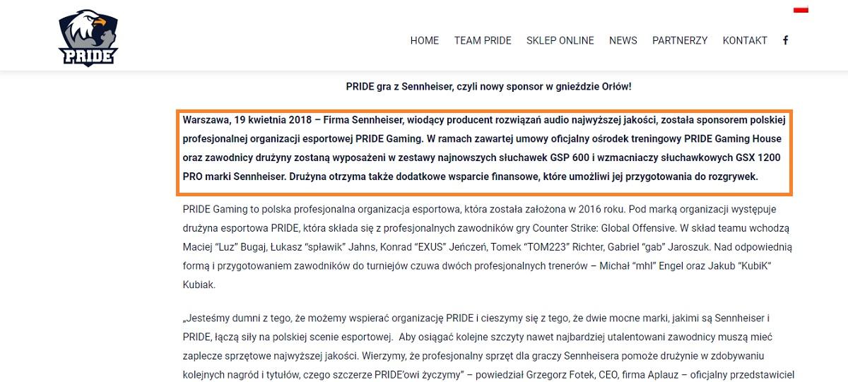 Screen ze strony Pride.gg